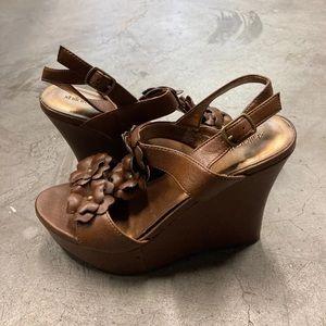 Xhilaration brown wedge sandals